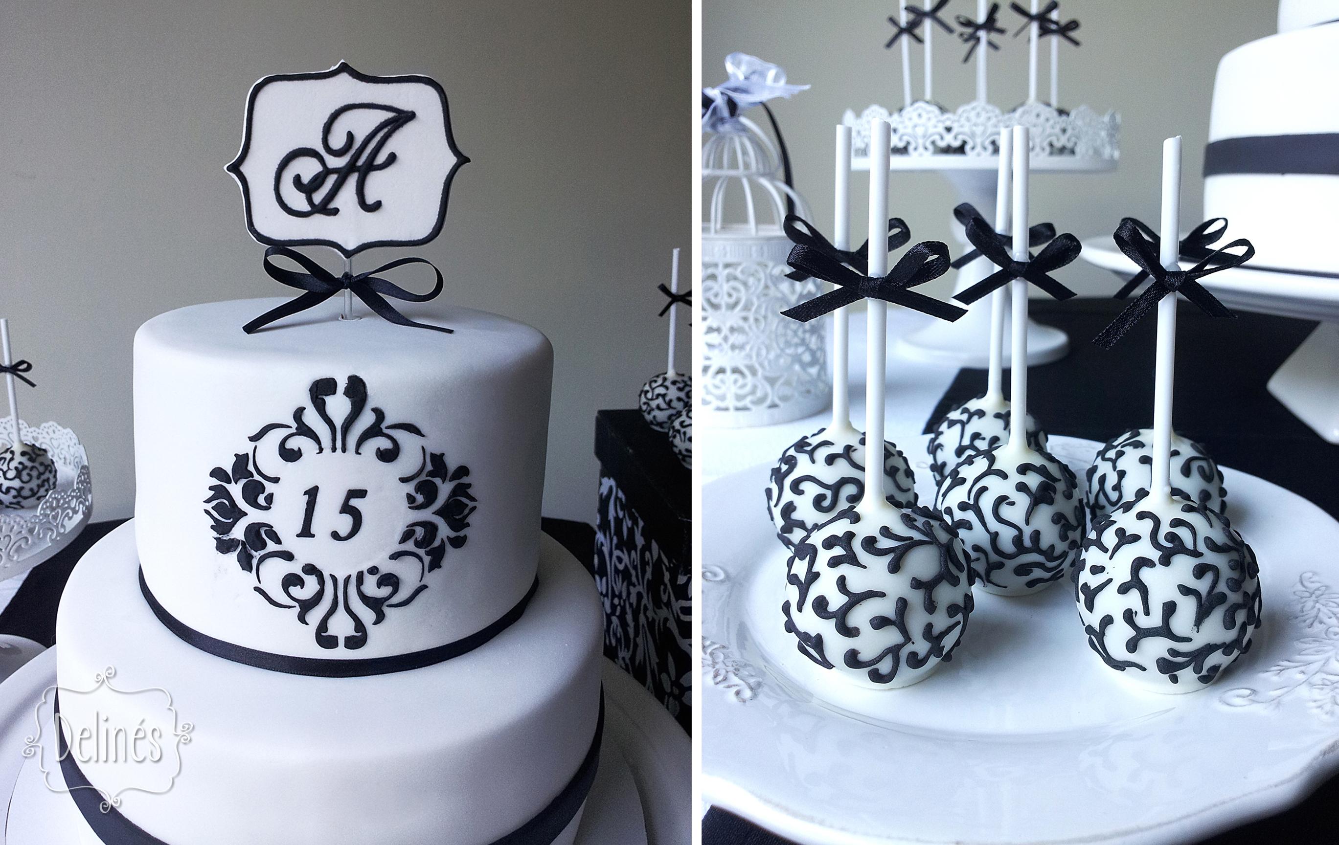 5a0acfe5f0 Torta y popcakes para cumple de 15 con estilo elegante y delicado en blanco  y negro