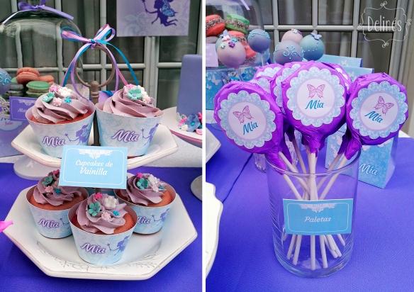 Hadas y flores cupcakes y paletas