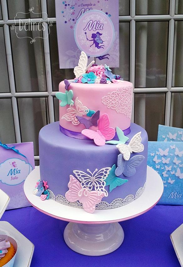 Hadas y flores torta