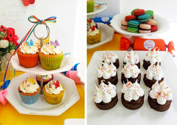 Mariposa multicolor cupcakes y brownie