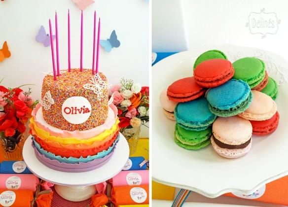 Mariposa multicolor torta y macarons