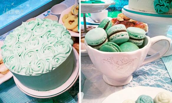 Té romántico torta y macarons